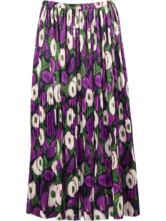Dries Van Noten Pleated Skirt With Floral Print
