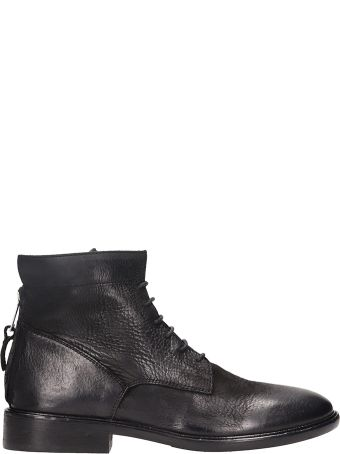 Strategia Lace Up Black Leather Ankle Boots
