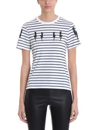 Neil Barrett Lightning Bolt Stripes Black And White Cotton T-shirt