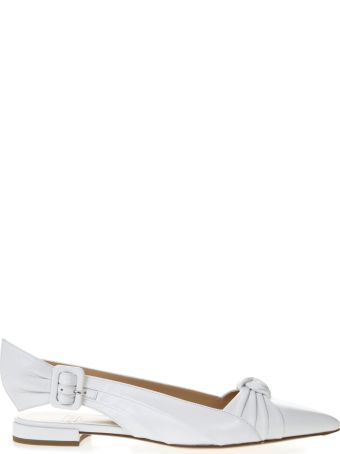 Francesco Russo White Leather Knot Ballerina Shoes