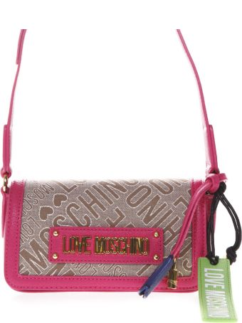 Love Moschino Fuchsia And Beige Shoulder Bag With Jacquard Logo