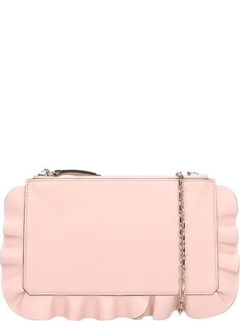 RED Valentino Pink Leather Clutch Rouche Bag