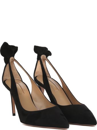 Aquazzura Black Leather Bow Tie Pump 85 Pumps