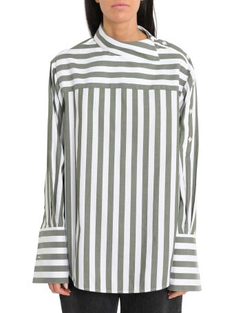 MONSE Striped Shirt With Buttons On Sleeves