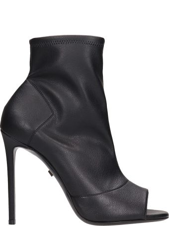 Grey Mer Black Leather Open Toe Ankle Boots