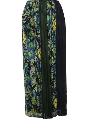 Zucca Pleated Floral Print Long Skirt