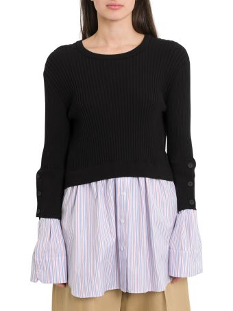 Kenzo Rib Cotton Pullover With Shirt Inserts