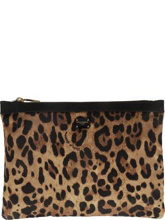 Dolce & Gabbana Leopard Print Logo Plaque Clutch