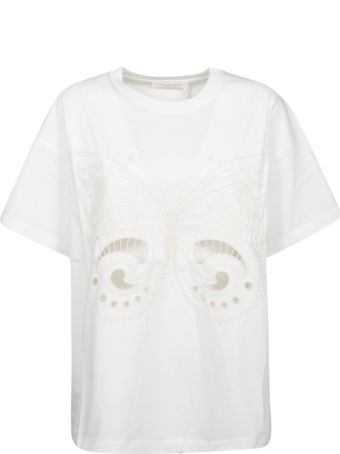 See by Chloé Embroidered Butterfly T-shirt