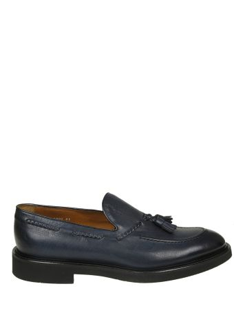 Doucal's Loafers In Blue Leather With Nappa Detail