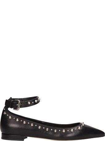 Julie Dee Black Leather Ballarinas