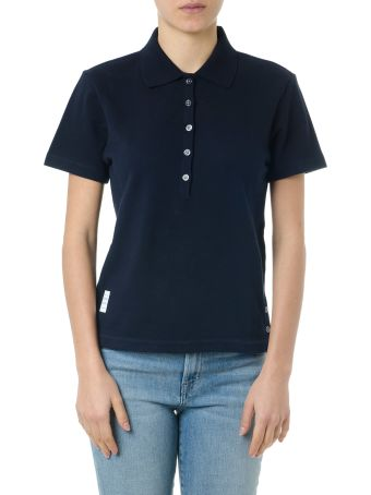 Thom Browne Navy Cotton Polo Shirt With Iconic Ribbon