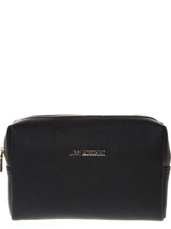 Love Moschino Saffiano Black Faux Leather Pouch