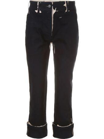 Prada Linea Rossa Overprint Denim Trousers