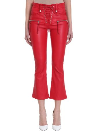 Ben Taverniti Unravel Project Lace Up Red Leather Pants