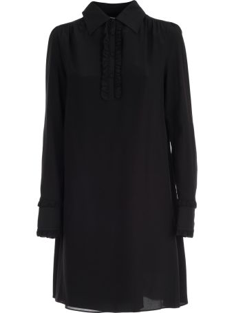 McQ Alexander McQueen Dress L/s Mini Shirt Neck W/ruflle