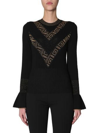 Versace Collection Sweater With Ruffle Sleeves