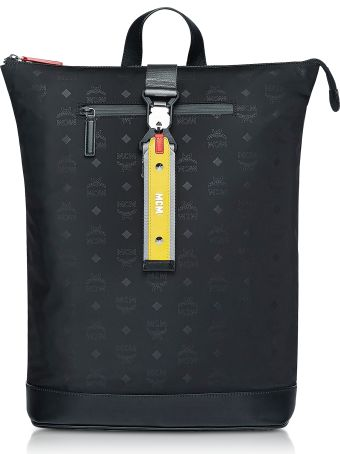 MCM Black Monogram Nylon Resnick Backpack