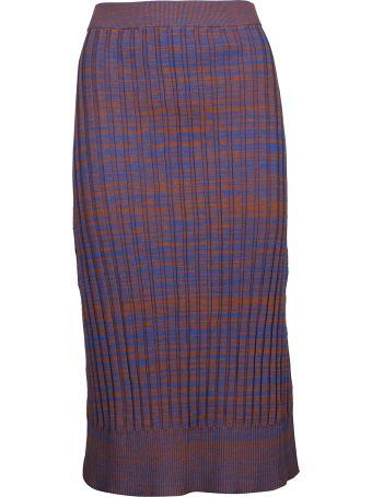 Jil Sander Navy Ribbed Pencil Skirt