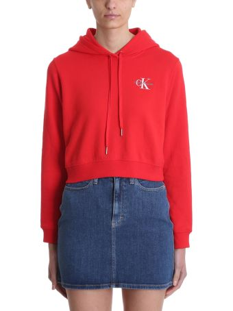 Calvin Klein Jeans Red Logo Hoodie Cropped Sweatshirt