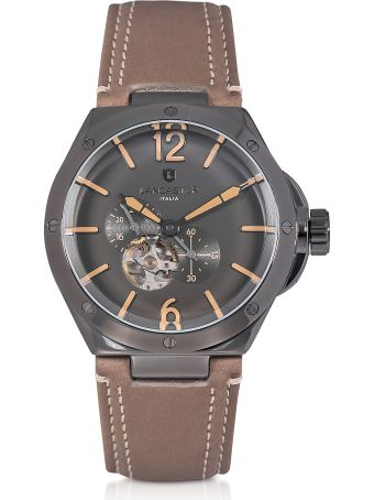 Lancaster Paris Lancaster Space Shuttle Meccanico Gunmetal Stainless Steel And Natural Nubuck Men's Watch