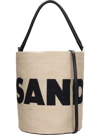 Jil Sander Woven Leather Drawstring Bucket Bag