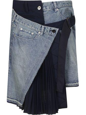 Sacai Asymmetric Pleated Skirt
