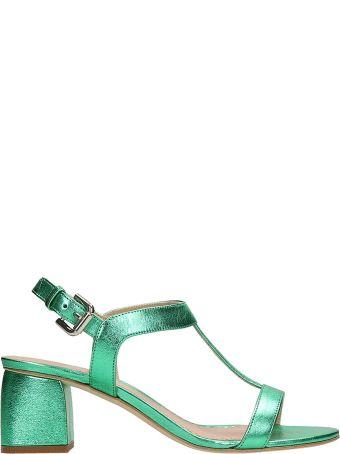 Julie Dee Green Metal Leather Sandals