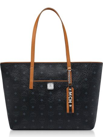 MCM Black Visetos Anya Top Zip Shopping Bag