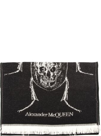 Alexander McQueen Skull Bug Black Wool Scarf