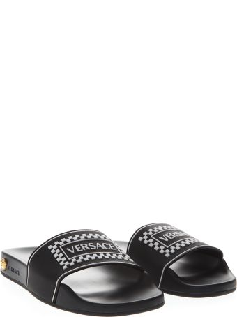 Versace Black  Leather Slides With Versace Logo