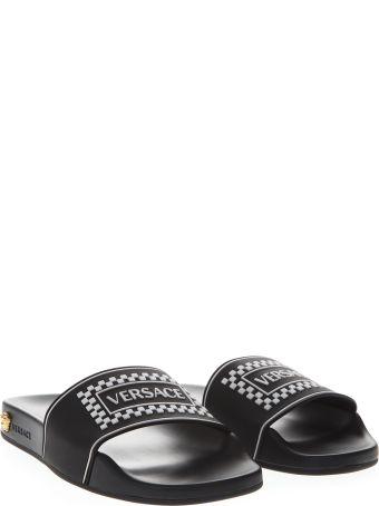Versace Black Flat With Logo