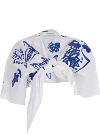 Marques'Almeida Embroidered Cropped Top