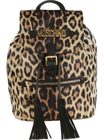 Moschino Leopard Printed Backpack