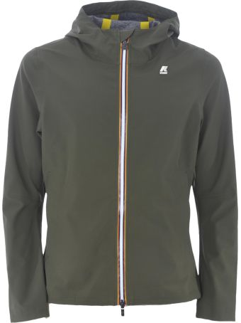 K-Way Logo Patched Hooded Jacket
