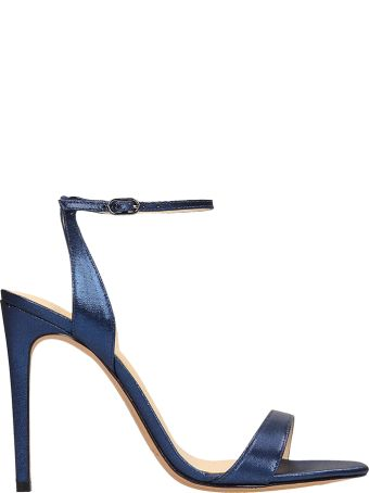 Alexandre Birman Blue Laminated Leather Sandals