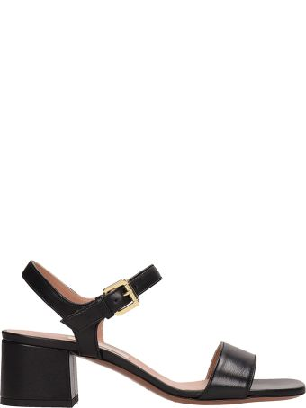 L'Autre Chose Black Leather Cabi Sandals