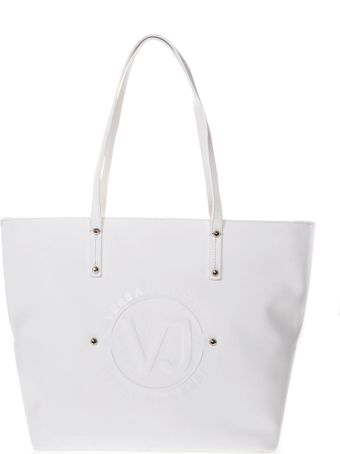 Versace White Tote Faux Leather Bag