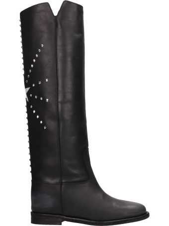 Via Roma 15 Black Calf Leather Boots