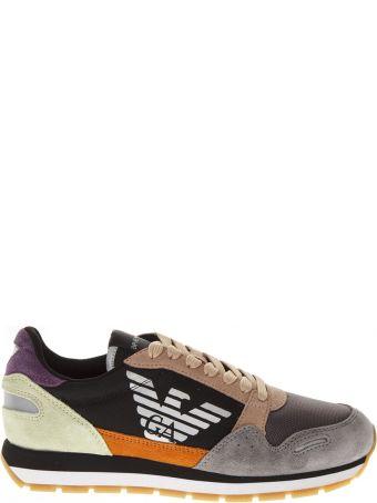 Emporio Armani Multicolor Fabric & Leather Sneakers