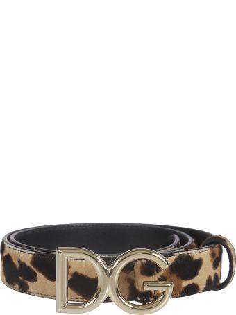 Dolce & Gabbana Leopard Coated Dg Buckle Belt