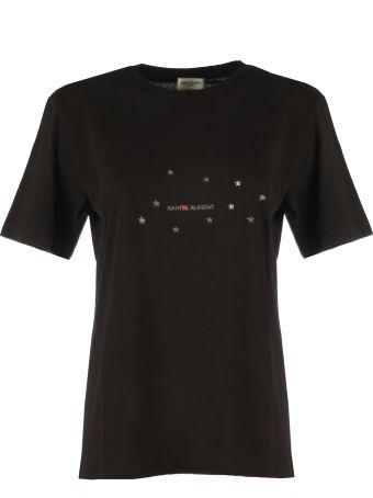 Saint Laurent Logo Stars Crewneck Cotton T-shirt