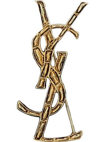Saint Laurent Gold Brass Brooch
