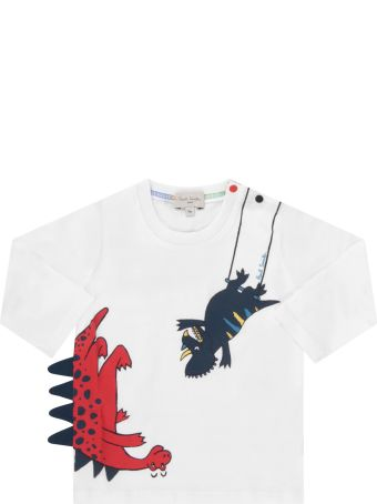 Paul Smith Junior White T-shirt For Baby Boy With Dinosaurs