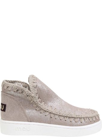 Mou Sneakers In Suede Glittered Leather Beige Color