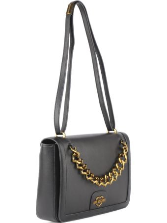 Love Moschino Black Hammered Faux Leather Bag With Hearts Chain