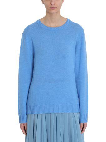 Jil Sander Light Blue Wool Loose Fit Long Sleeve Jumper