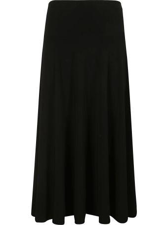 Norma Kamali Side Slit Mid-calf Flared Skirt