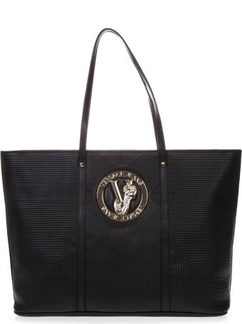 Versace Shopping Bag In Black Faux Leather With Logo