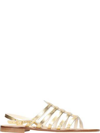 Fabio Rusconi Thong Gold Calf Leather Sandals